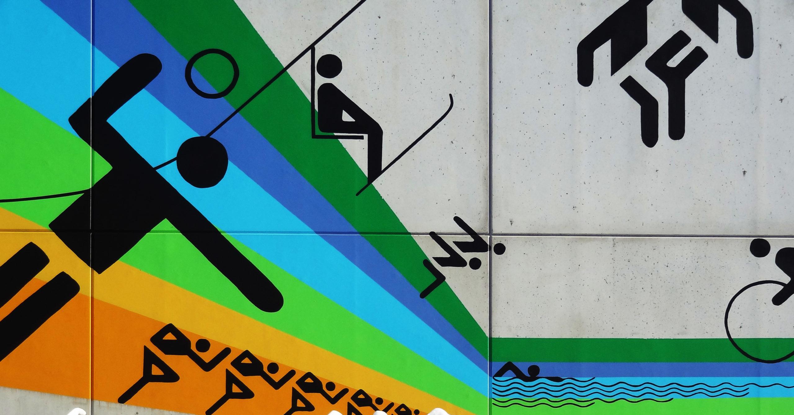 Bemalung eines Bungalows im Studentendorf Olympiazentrum