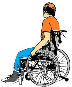 Rollstuhlfahrer - Skizze von Rainer Schoder